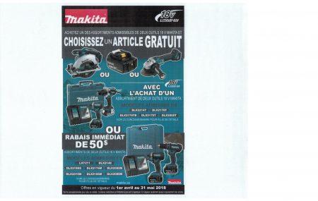 Promotion Makita rabais de $50.00 sur LXT211 et LXT2005M Article gratuit Valeur de $109.00 à $159.00 sur DLX2176T et DLX2214T